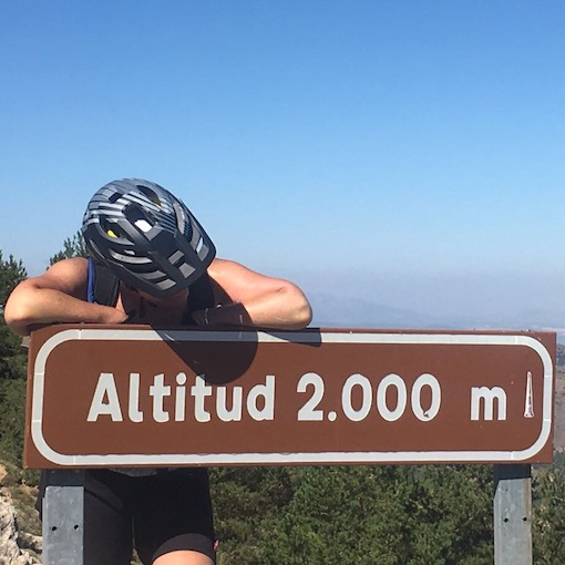 Elevation signs mark the way up Europe's highest cyclable climb